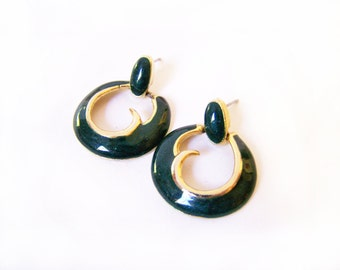 Vintage Gold Tone Green Enameled Circle Dangle Post Earrings / Gift for Her / M270