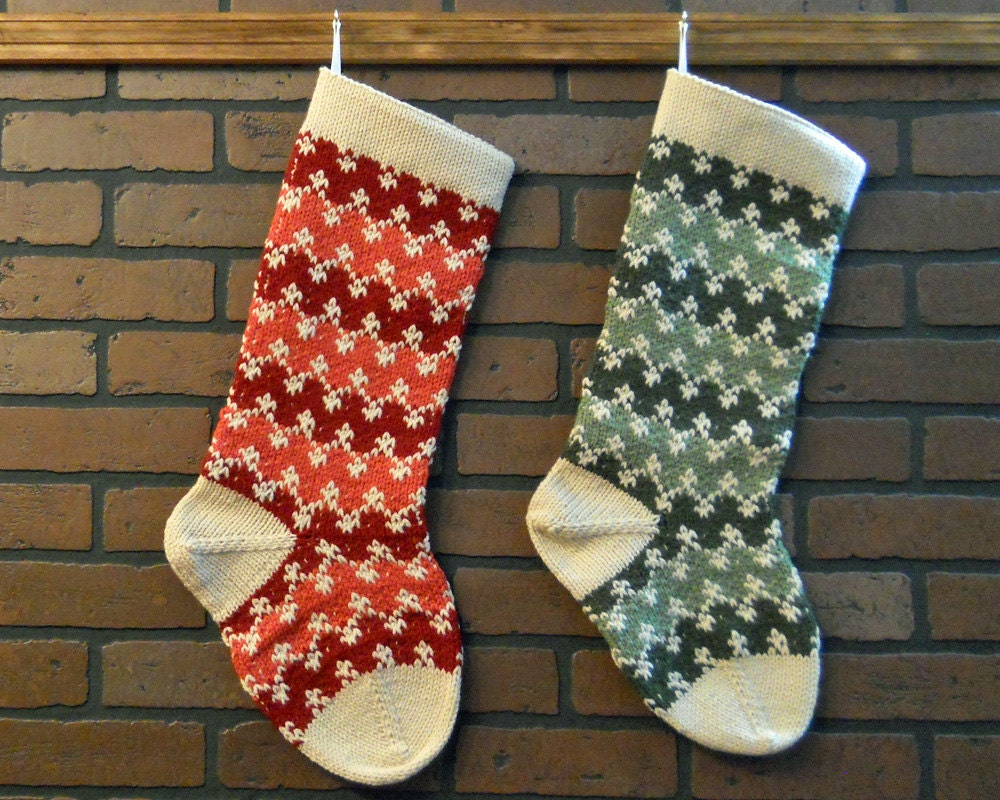 Knit Pattern For Striped Christmas Stocking : 2 Large Christmas Stockings Striped Hand Knit 1 by CustomBearHugs