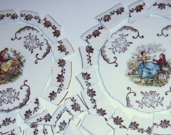 Broken China Mosaic, Mosaic Supplies, Mosaic Focal,  Hand Cut Tiles,