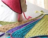 Six Crochet Bandannas Head Scarf Bad Hair Day Cover Up Hippie Style Cutie Women or Girls