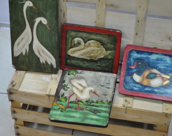 Vintage Set of 4 hand made decoartive paintings...