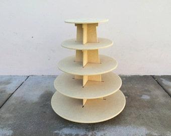 Round 5 tier cupcake stand-wood finish