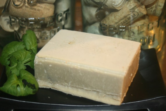 Peppermint Tea Tree Soap with Bentonite clay made with all Organic oils Large 5.3 oz bar great face or shave soap