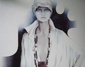 LISA by Sara Moon Print Original 1970s Fashion Art Lady
