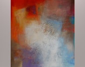 """Contemporary Wall Art Huge Original Abstract Textured Painting Fine Art Red - """"New Day"""" -  48"""" x 36"""" x 1.5"""""""