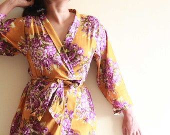 9, Floral kimono crossover robe, Bridesmaids, maid of honor, spa robe, beach cover up, dressing up robe, maternity, bridal, shower, party