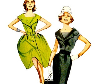 Retro Slim Wiggle or Flared Dress Pattern Size 8 - 16 Wide Collar Detachable Dickey 60's Reprint Butterick B5747 Sewing Patterns Uncut