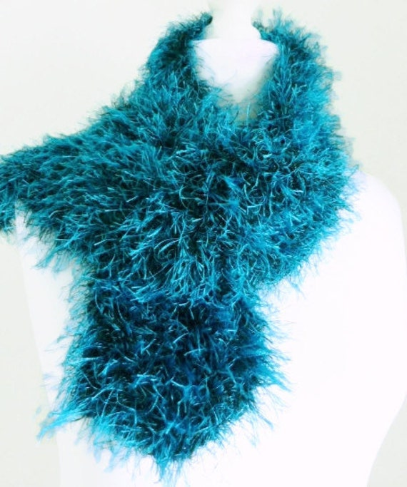 blue scarf knit blue black fluffy by hanovermerrymakers