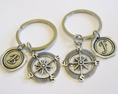 2 Compass Wax Seal Initial Keychains Best Friends Sisters Couples