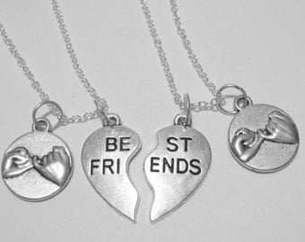 2 Best Friends Heart Pinky Promise  Necklaces BFF