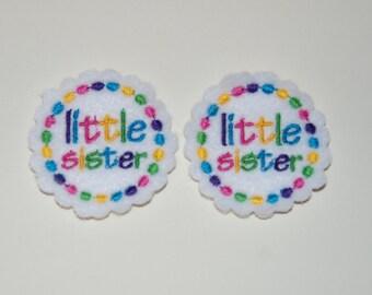 Set of 2 Little Sister Feltie Felt Embellishments