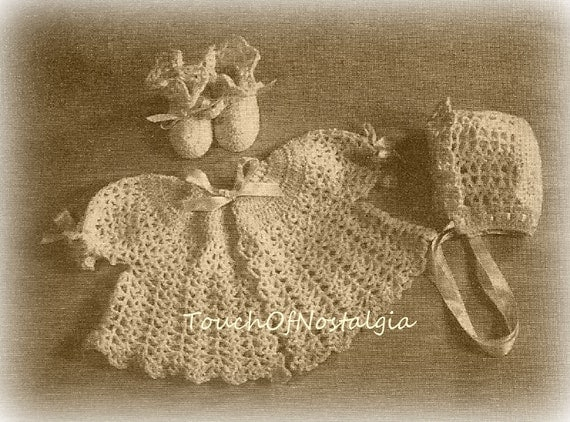 Crochet Baby Layette Set Crochet Pattern By Touchofnostalgia7