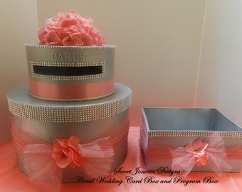 Wedding Cake Card Box & Program Box Coral Bling Ribbon