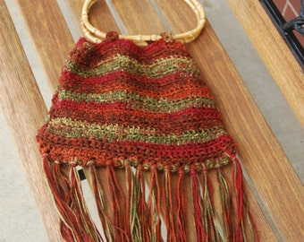 Autumn Dawn Crochet Hippie Bag with Bamboo Handles and Fringe