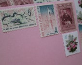 Romantic Pink... Unused Vintage Postage Stamps ... Enough to Mail 5 letters