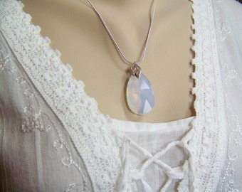 Faceted Opal Necklace, Swarovski Opal Teardrop, Opal Necklace, Large Opal Briolette, Irridescent Opal, Faceted Opal, October Birthstone