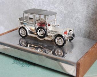 Vintage Silver Cigarette Case/Antique Car/Perfect for the Man Cave