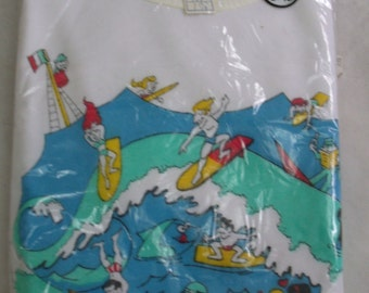 Vintage 70s NOS Girl's White Surfing Tshirt Size M 8-10