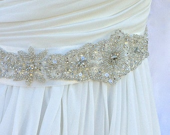 Beaded Bridal Sash-Wedding Sash In Soft White, Beaded Sash, Wedding Dress Sash, Bridal Belt, Crystals, Color Choices