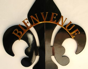 2- Part Black & Gold French Welcome Fleur De Lis