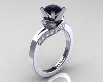 Classic 14K White Gold 1.0 Ct Black and White Diamond Designer Solitaire Ring R259-14KWGDBD