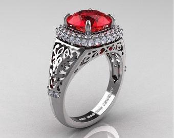 High Fashion 14K White Gold 3.0 Ct Ruby Diamond Designer Wedding Ring R407-14KWGDR