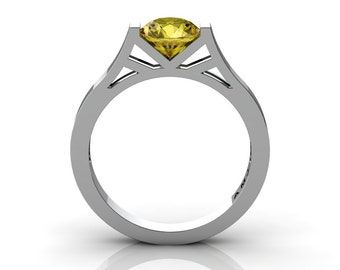 Modern 14K White Gold 1.0 Ct Luxurious Engagement Ring or Wedding Ring with a Yellow Sapphire Center Stone R667-14KWGYS