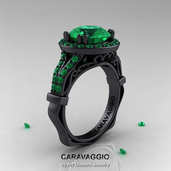 Caravaggio 14K Black Gold 3 0 Ct Emerald Engagement Ring