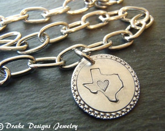 Personalized  state charm bracelet with heart
