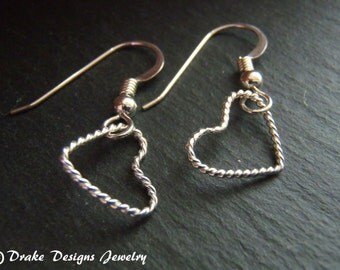 Sterling silver wire heart earrings delicate twisted wire heart earring