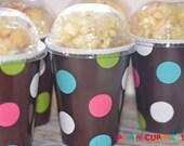 Polka Dot Birthday Party-Popcorn Party Cups-Birthday Party-Set of 9