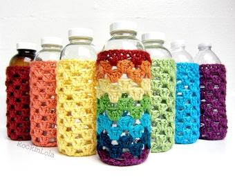 coffee cozy - glass bottle cozy - glass bottle sleeve - crochet cozy - kombucha cozy - handmade by RockinLola