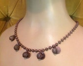 Copper charm necklace ball chain hammered disks glass beads wrapped in wire mesh bohemian boho chic gypsy costume jewelry fashion accessory