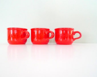 Waechtersbach Cups - Vintage Retro Cups Red 1970s Set of Three