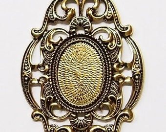 4 of 25x18 mm Antique Gold Old Victorian Large Art Deco Style Pendant Settings, Beautiful for Cameos, Glass, Tiles