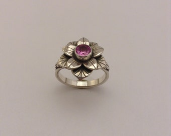 sterling silver flower ring with pink tourmaline