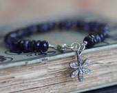 Water Sapphire (Iolite) Bracelet with Pave Diamond Flower Charm