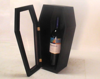 "14"" Doll Display Coffin or Wine Coffin with Glass Front"