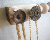 Jewelry Storage / Necklace Organizer / Reclaimed Spindle with a Butterfly