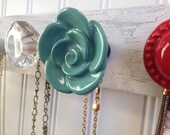 Jewelry Organizer in Bold Teal and Red