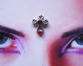 tribal fusion bellydance gothic fantasy red rhinestone cross bindi - indian hindu woman jewelry accessory
