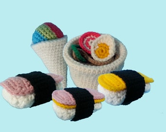 Spam Musubi Saimin & Shave Ice 3 in 1 Crochet Patterns PDF