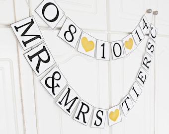 FREE SHIPPING, Personalized wedding banner, Save the date, Bridal shower banner, Engagement party decoration, Custom name banner, Gold heart
