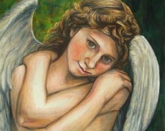 Angel wall artwork - Original Angel drawing - Angel wings - Colored pencil drawing - Angel wings wall decor - Wall decor - Original art, Art