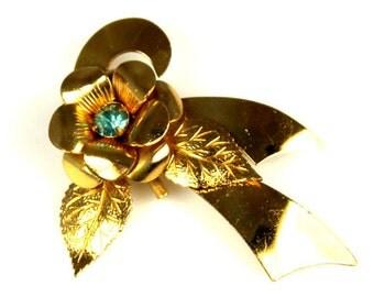 Vintage Coro Blue Rhinestone Open Flower Ribbon Brooch