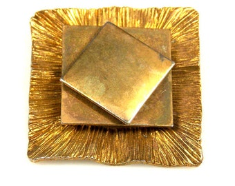 Vintage Copper Washed Geometric Layered Brooch