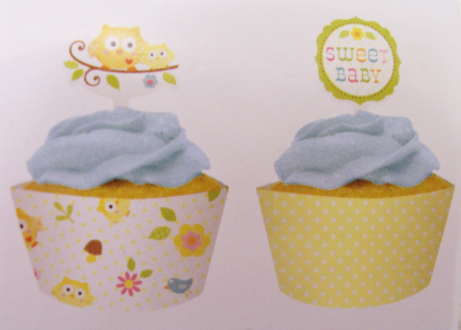 Clearance 18 owl cupcake wrappers with toppers baby for Baby shower cupcake picks decoration