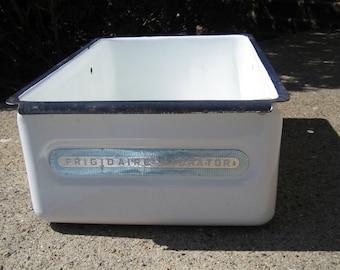 Vintage Refrigerator Frigidaire Hydrator Enamel Ware Porcelain