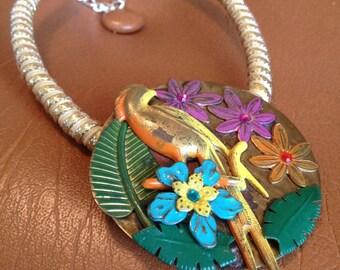 Vintage Bird of Paradise Floridian Retro Statement Necklace