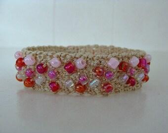 Crochet Beaded Bracelet Pink